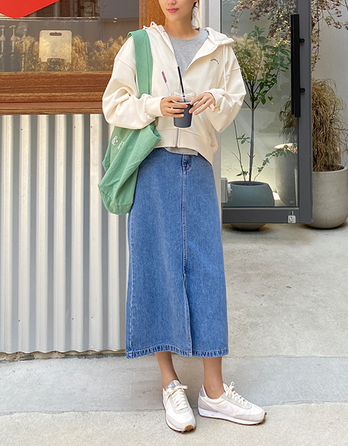 slit denim long skirt